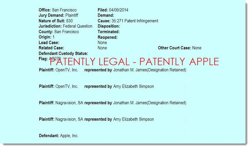 2. Apple sued by OpenTV, Inc Apr 10, 2014