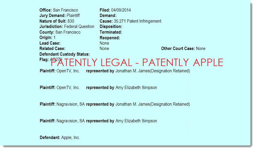 Open TV and Nagravision are Suing Apple over Apple TV - Patently Apple