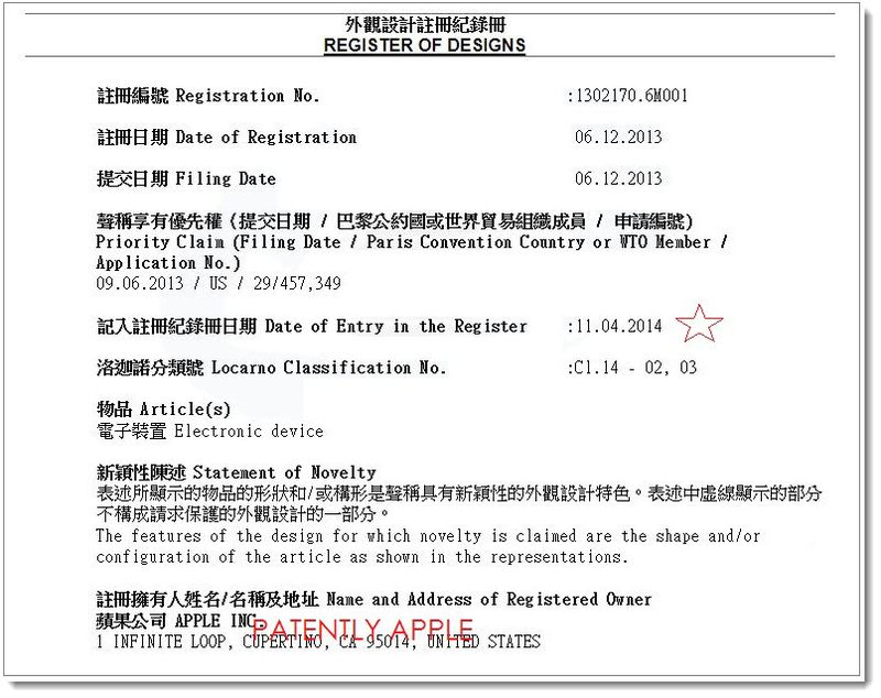 4AF - Apple granted a design patent in HK China Apr 11, 2014.