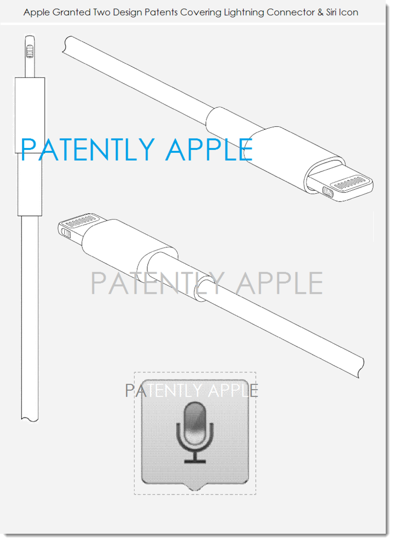 4. Apple granted 2 design patents - Lightning connector, Siri icon