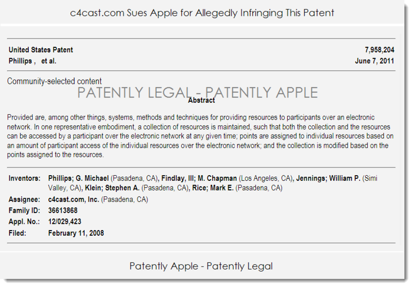 2. C4CAST PATENT USED IN INFRINGEMENT LAWSUIT