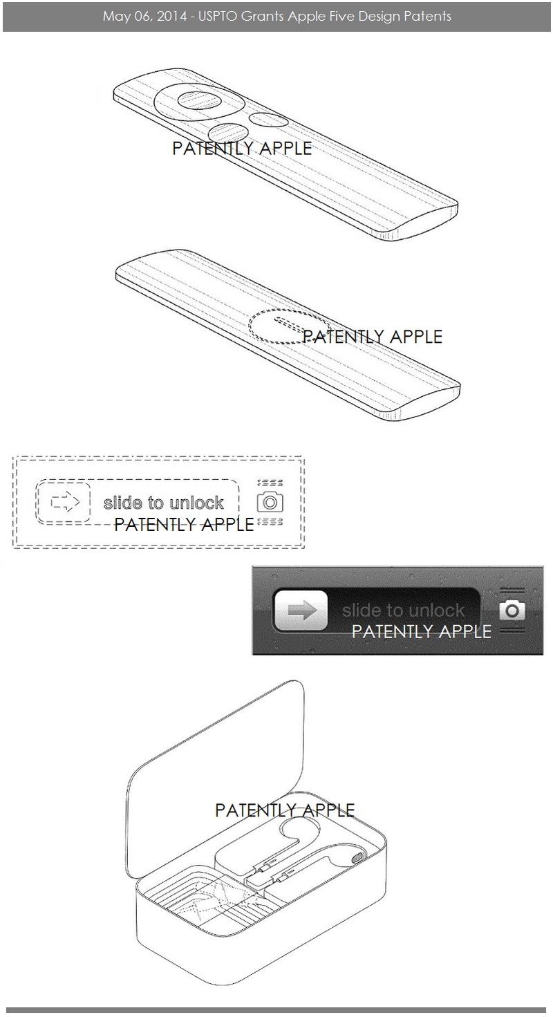 5AF USPTO grants Apple 5 design patents May 6, 2014