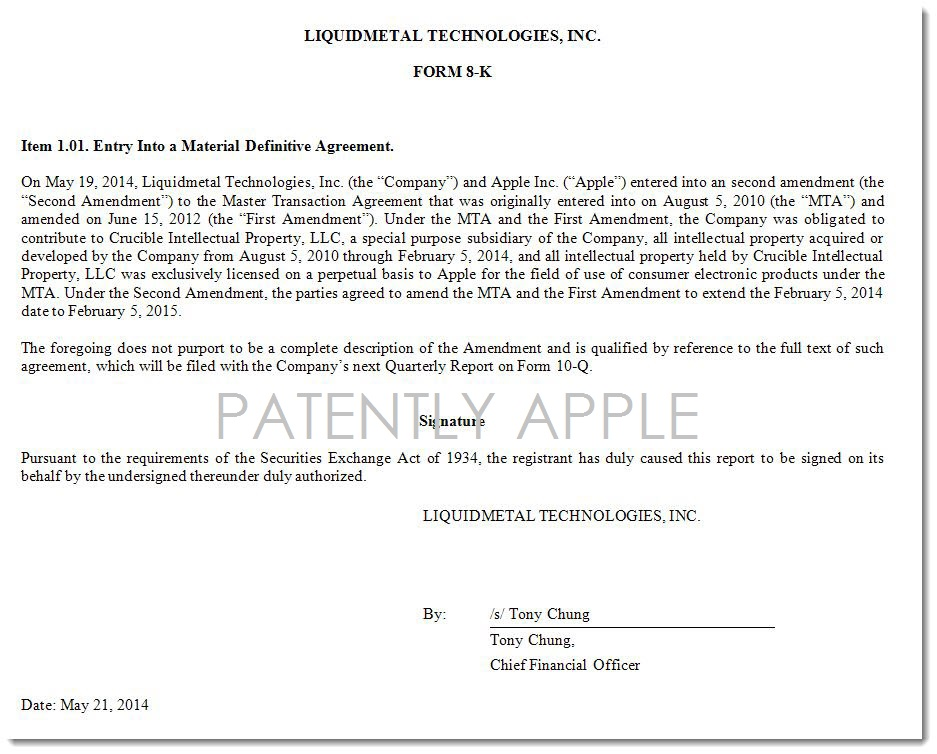 Apple Extends Master Agreement With Liquidmetal Technologies