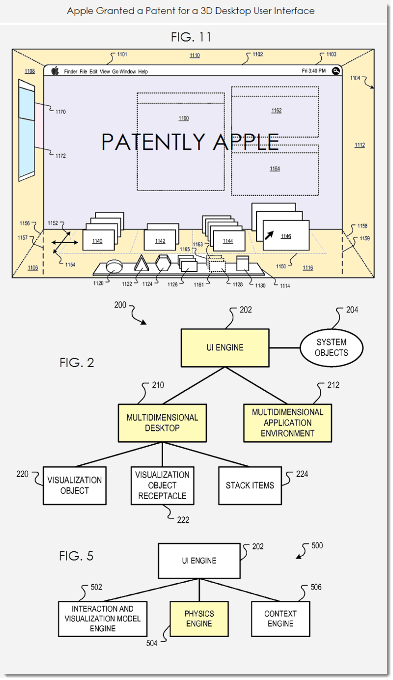 2AF Apple granted patent for 3D GUI for desktop
