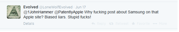 A Tweet to Patently Apple from Evolved June 17, 2014