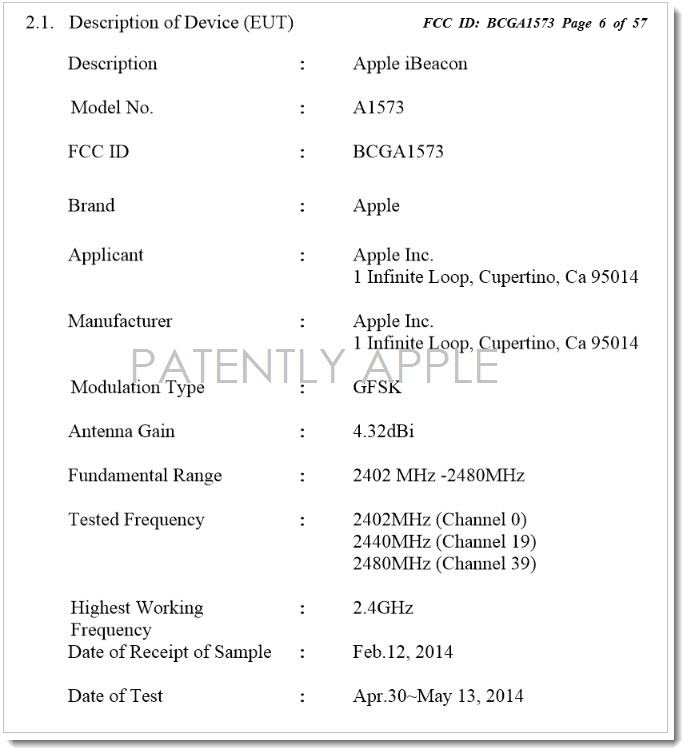 2AF July 13, 2014 - FCC describes Apple's iBeacon device on page 6 of 57