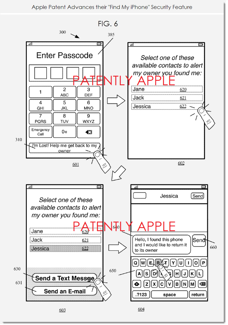 2AF - APPLE PATENT FIG 6 - ADVANCING FIND MY IPHONE SECURITY FEATURE