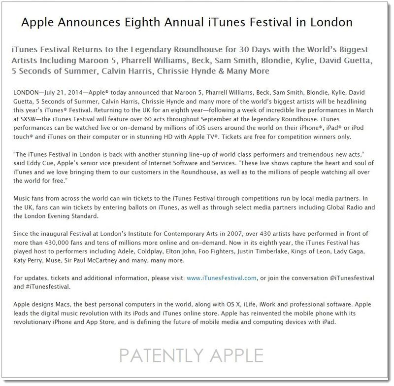 3AF ITUNES FESTIVAL IN LONDON, APPLE PRESS RELEASE