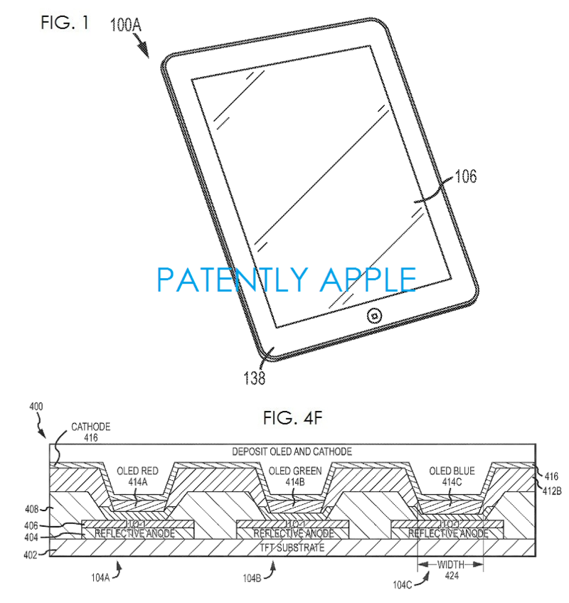 2AF - APPLE PATENT, FUTURE IPAD MAY USE OLED DISPLAY FIGS 1 AND 4F
