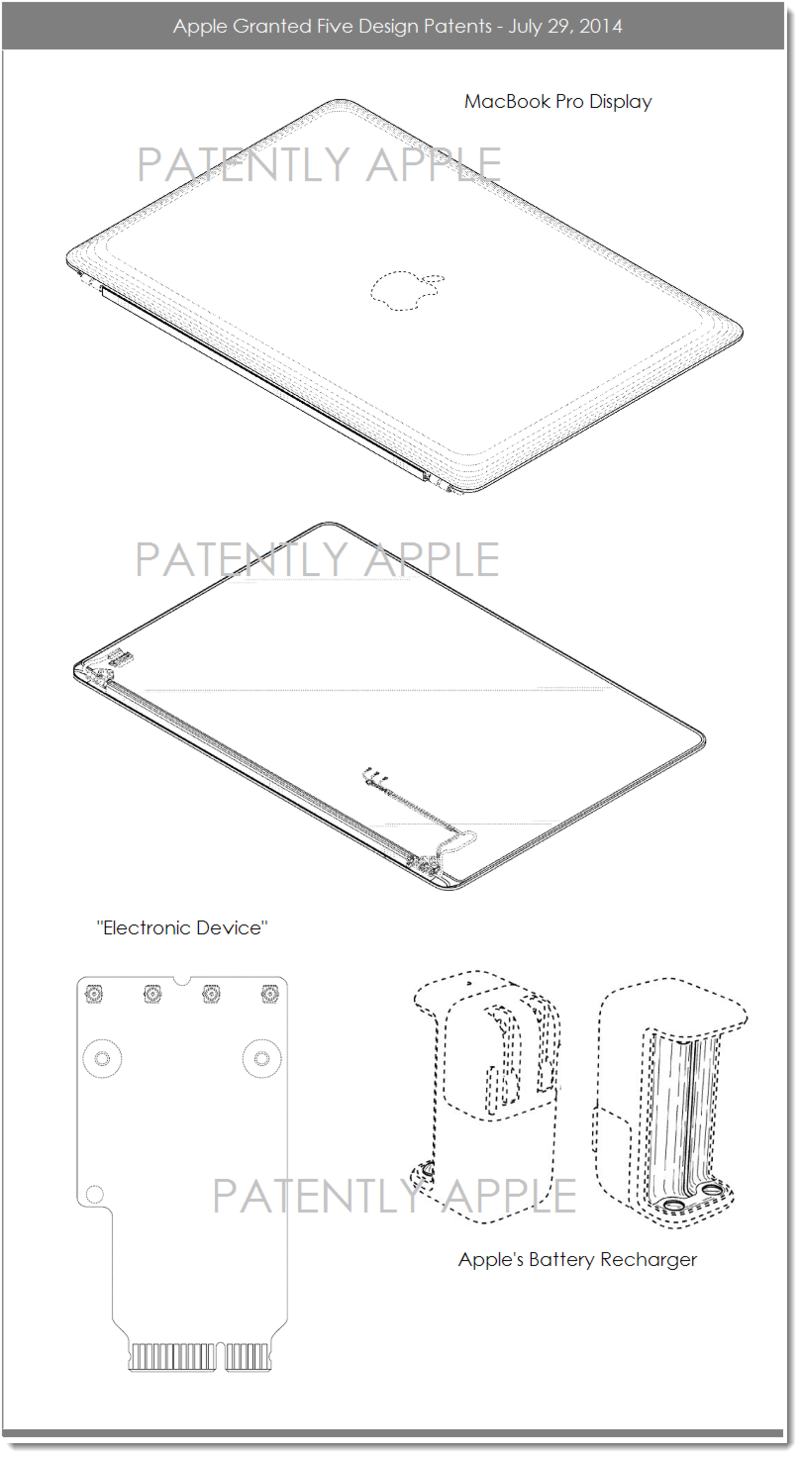 4AF - APPLE GRANTED 5 DESIGN PATENTS JULY 29, 2014