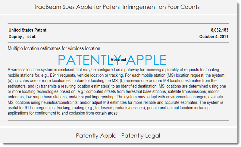 2AF TRACBEAM SUES APPLE FOR PATENT INFRINGEMENT ON 4 COUNTS