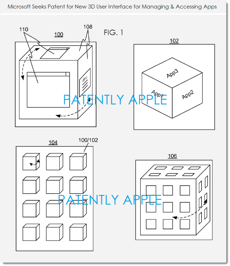 3. Msft patent fig. 1 - 3D UI for mobile devices