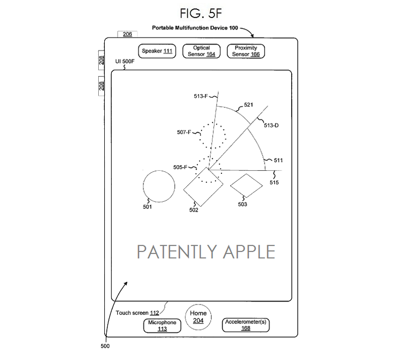 6. Apple patent fig. 5F - GUI for Touch-Based Gestural Input on an Electronic Canvas
