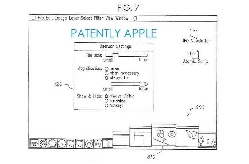 2. Apple granted a patent for dock magnification, fig. 7