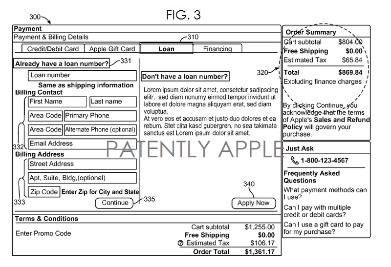 3. Apple financial system patent fig 3 - EXAMPLE GUI