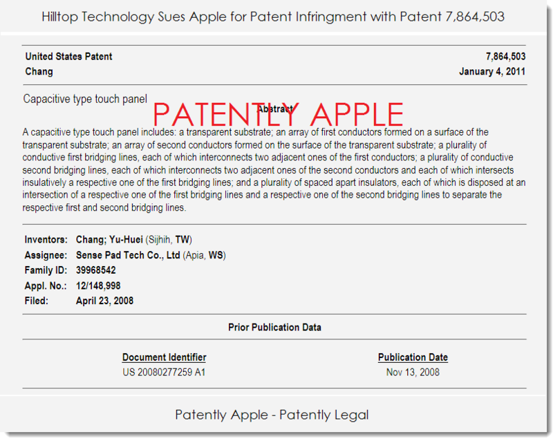 2. Hilltop uses patent 7,864,503 to sue Apple for patent infringement