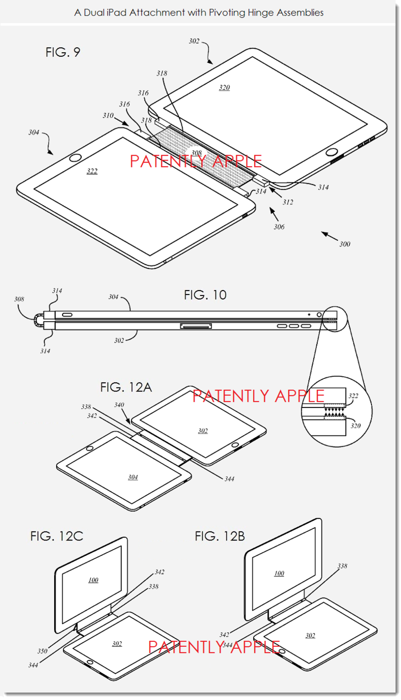 12 - Dual iPad attachment with pivoting hinge assemblies