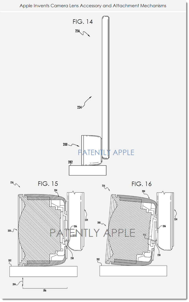 3. Apple patent for camera lens accessory & attachment mechanisms figs. 14, 15, 16