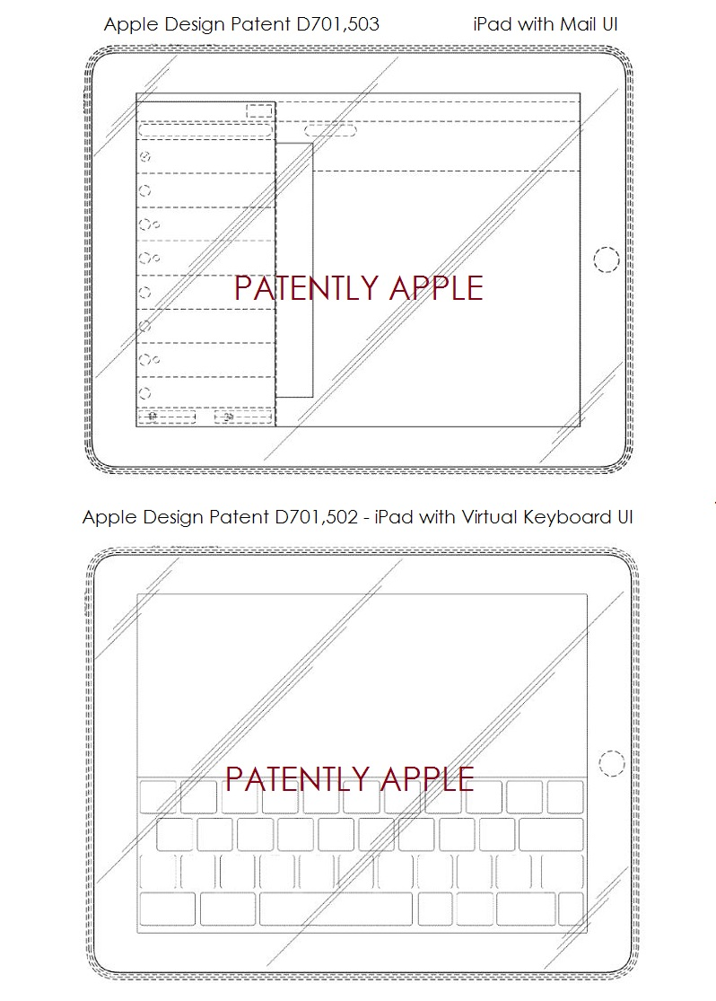 5. Two Apple design patent wins for the iPad with Mail & Virtual Keyboard UI's
