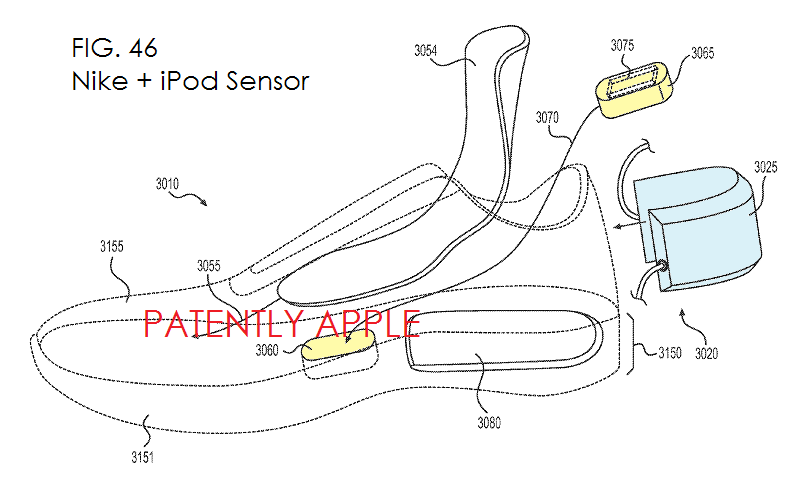 6. Nike patent fig. 46, clearly shoes it's to work with Nike + iPod Sensor