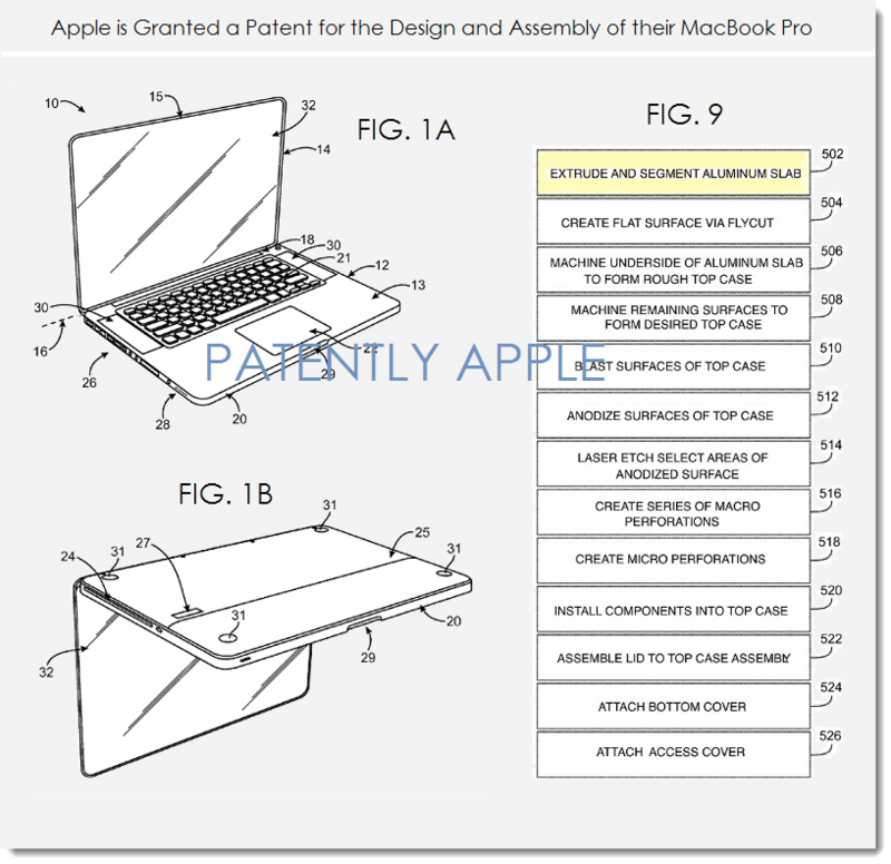 3A. Apple Granted a Patent for the assembly and design of the MacBook Pro Unibody