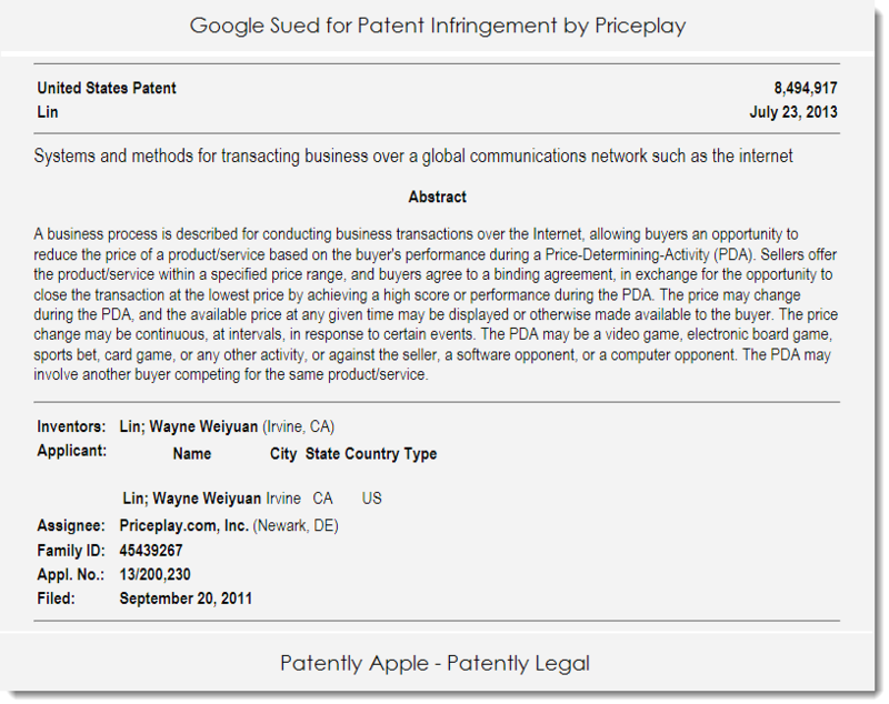 3. Priceplay sues Google for patent infringement