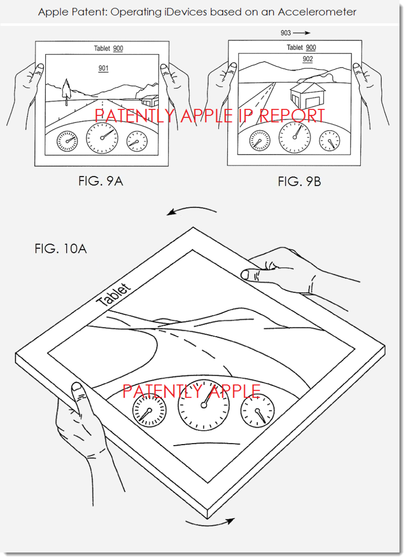 2.Apple granted patent for tablets, iDevices operating based on accelerometer figs 9ab, 10a gaming
