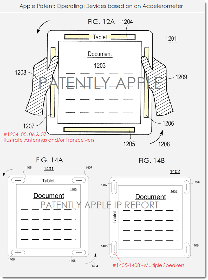 4. Apple granted patent for devices with accelerometer, Figs 12a, 14ab activating deactivating