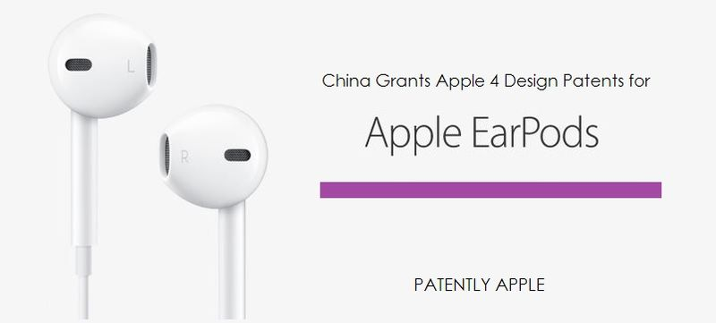 1AF - APPLE GRANTED 4 DESIGN PATENTS FOR EARPODS IN CHINA