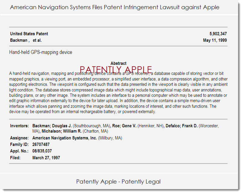 2. American Navigation Systems files patent infringement lawsuit against Apple May 2014