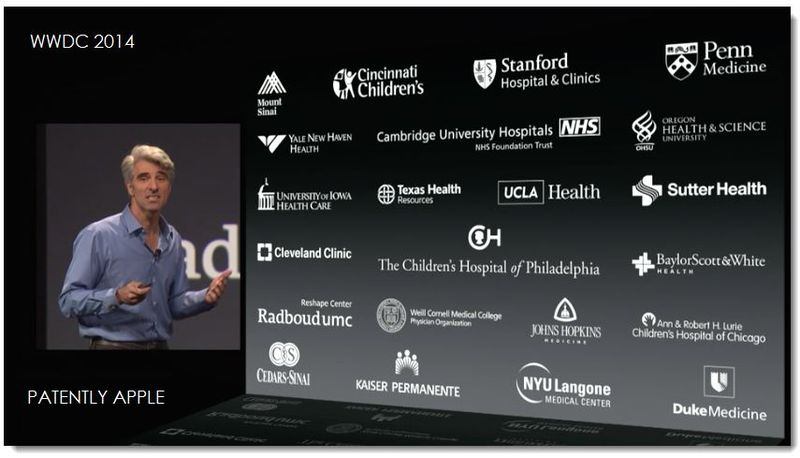 5. Apple keynote slide shows Apple working with top heath providers for HealthKit