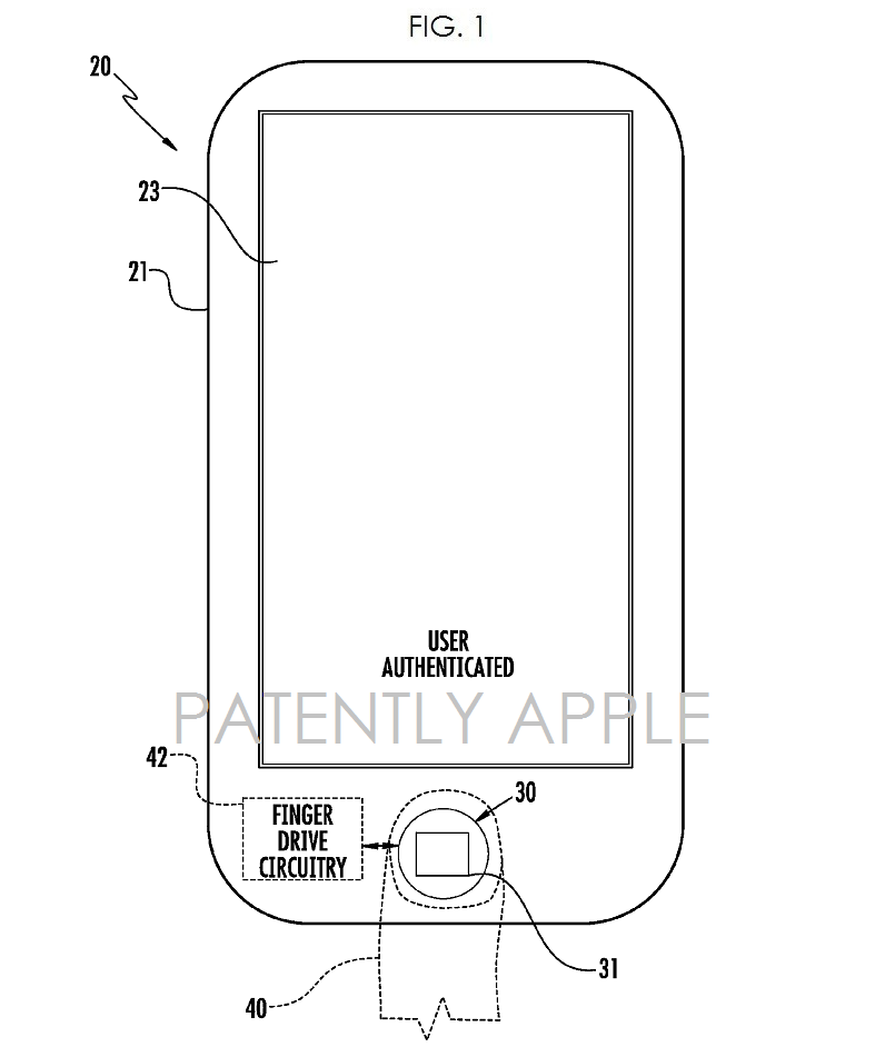 5A - ORIGINAL APPLE, AUTHENTEC, TOUCH ID PATENT FIG. 1