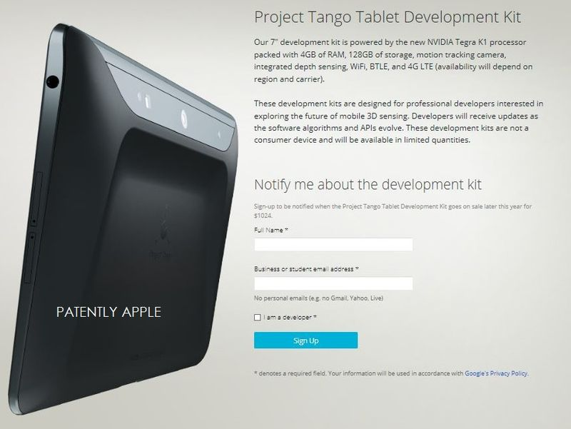 1AF PATENTLY APPLE REPORT - Project tango coming to Android Tablets too