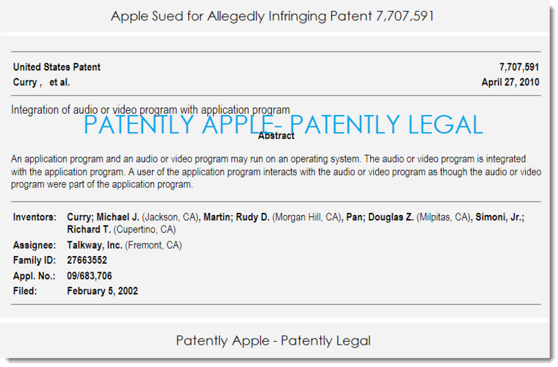 2AF - APPLE SUED OVER PATENT 7,707,591