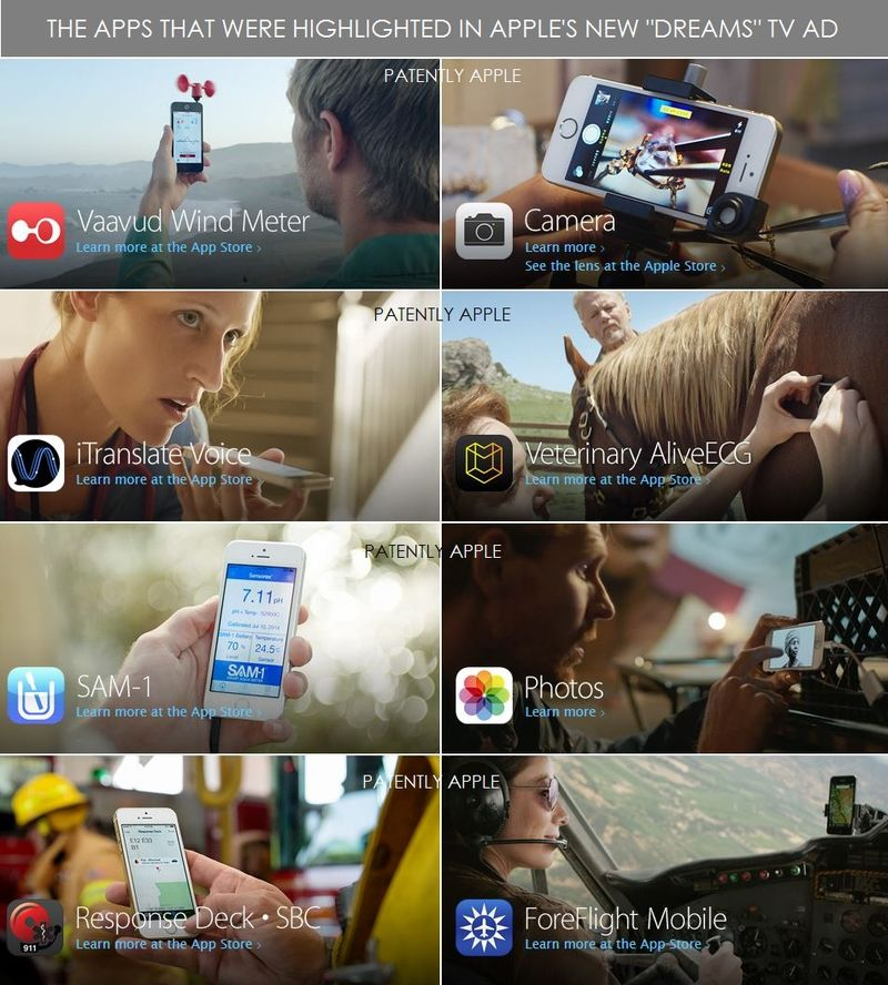 3AF2 - THE APPS HIGHLIGHTED IN THE NEW DREAMS TV AD - APPLE - AUG 2014
