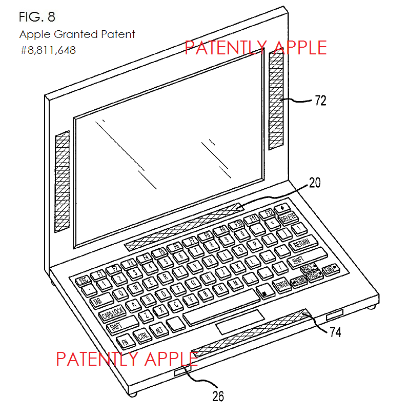 4AF - APPLE GRANTED PATENT FIG. 8 SURROUND SOUND ON MACBOOK PRO
