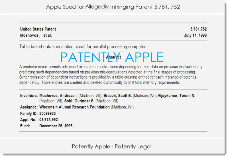 2. Apple sued for infringing patent 5,781,752