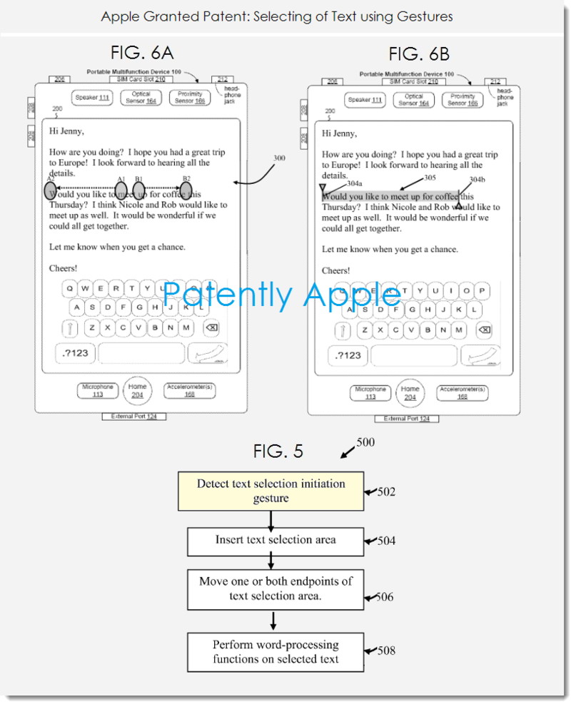 2 Apple granted patent figs 5, 6a, 6b selecting text using gestures