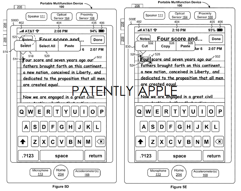 3. Apple grantetd a patent for GUIs for editing text on an iDevice