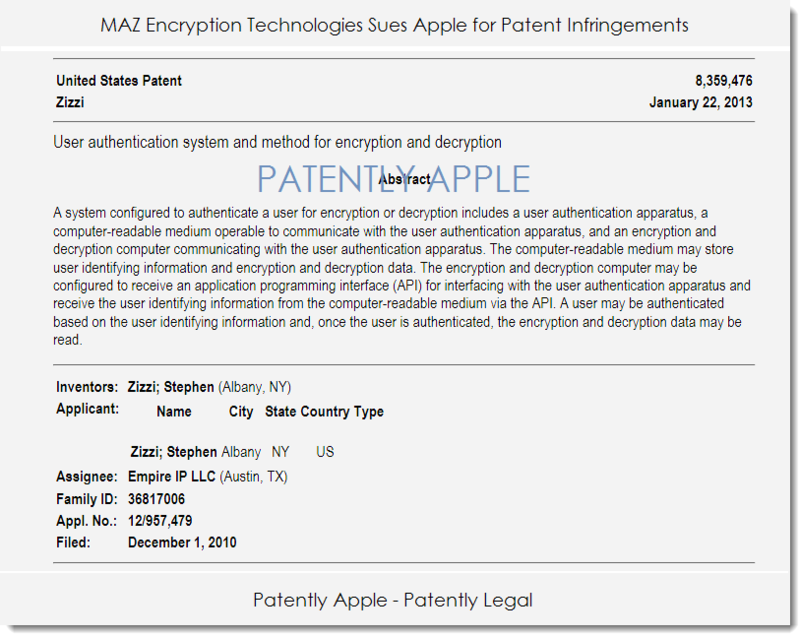 2A. MAZ sues Apple for Patent Infringement with patent 8,359,476