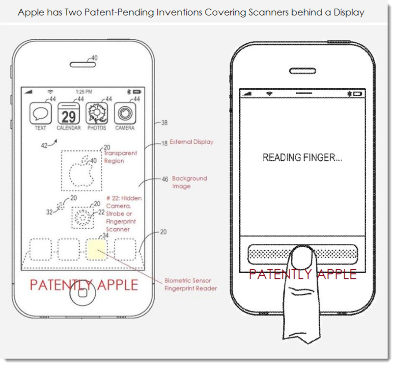 2. Apple - 2 alternative biometric scanner alternative designs for behind the display