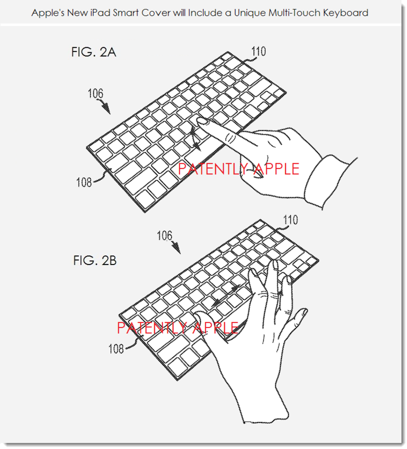 3. Multi-Touch Keyboard incorporated in smart cover - figs 2a,b Apple, Mar 27, 2014