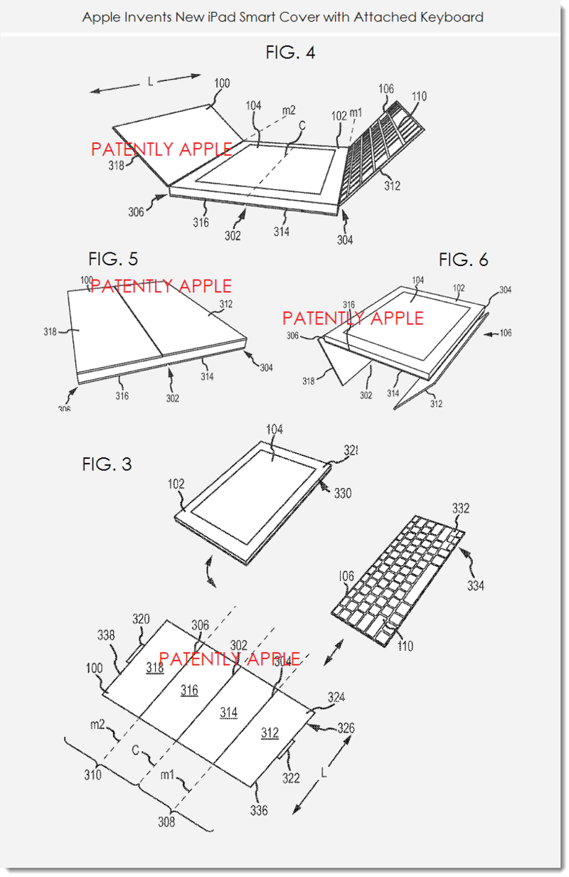 4. Apple's patent for a new multi-touch keyboard system with smart cover figs. 3,4,5, 6