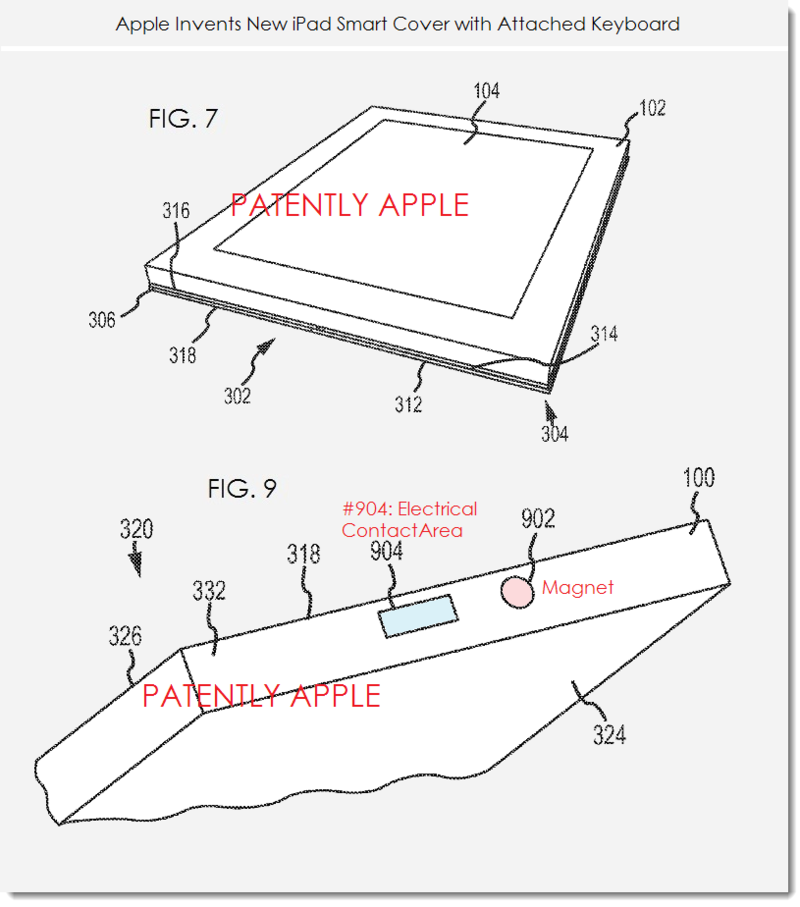 5. Apple patent figures 7 & 9 smart cover with multitouch keyboard