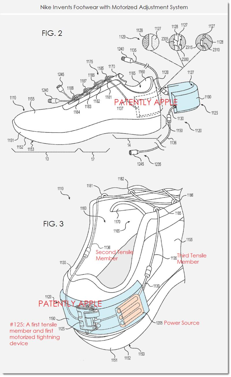 8. Nike patent figs 2 & 3 - motorized adjustment system - Nike + ecosystem footwear