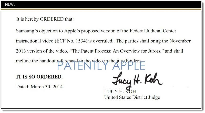 1. Samsung's Objection to the Federal Judicial Center Instructional video overruled