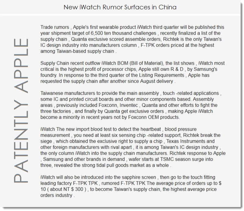 2. New iWatch Rumor surfaces in China