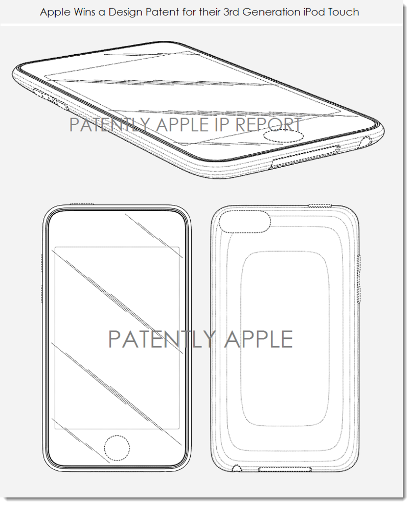6. Apple granted a design patent for the 3rd generation iPod touch