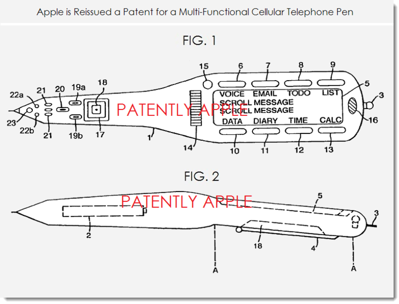 2. Apple patent figs 1, 2 for multi-functional cellular telephone pen