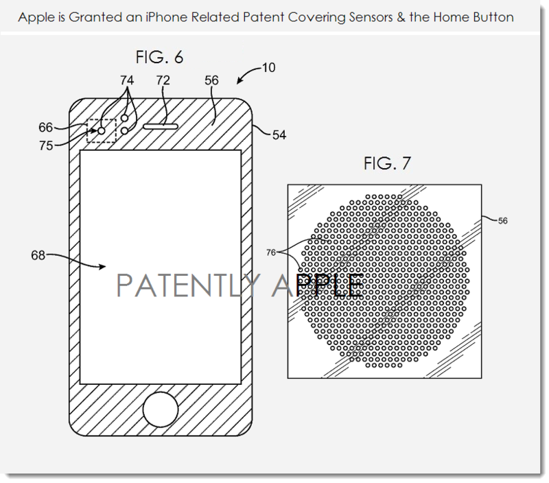 4AF Apple granted patent figs. 6 & 7 iPhone related sensors and home button